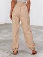 Khaki Shift Solid Pockets Casual Pant