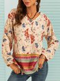 Butterfly Printed Long Sleeve V Neck Shift Blouse