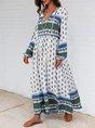White Shift V Neck Floral Long Sleeve Maxi Dress