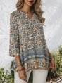 Blue Floral 3/4 Sleeve Holiday Top