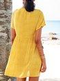 V Neck Swing Daily Boho Polka Dots Mini Dress