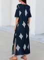 Purplish Blue V Neck Tribal Printed Half Sleeve Maxi Dress