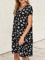 Holiday Short  Sleeve  Floral Shift Mini Dress