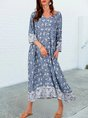 Blue Shift V Neck 3/4 Sleeve Tribal Boho Maxi Dress