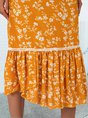 Yellow Crew Neck Floral Shift Sleeveless Midi Dress