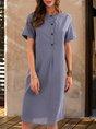 Blue Short Sleeve A-Line Midi Dress