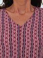 Red Tribal V Neck Short Sleeve Boho Mini Dress