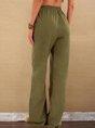 Olive Green Casual Plain Cotton Pants