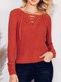 Shift Long Sleeve Casual V Neck Sweater