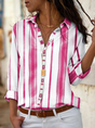 Casual Shirt Collar Cotton-Blend Long Sleeve Blouse