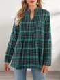 Green A-Line Casual Plaid Top