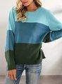 Green Shift Stripes Crew Neck Casual Sweater