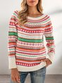Crew Neck Tribal  Long Sleeve Sweater