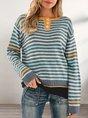 Blue Color-Block Striped Casual Crew Neck Sweater