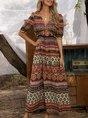 Red Half Sleeve Tribal Printed Dress