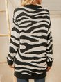 White Zebra Knitted Casual Sweater