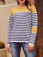 Yellow Shift Stripes Crew Neck Long Sleeve Sweater