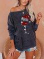 Christmas Red Wine Glass Print Cozy Sweatshirt