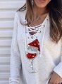 Christmas Red Wine Glass Print Lace Up Tops
