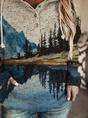 Ladies Art Mountain Print Casual Hoodie