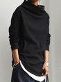 Black Cotton-Blend Casual Top