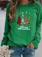 Plus Size Crew Neck Vintage Christmas Long Sleeve Top