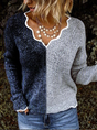 Gray Wool Blend Casual V Neck Sweater