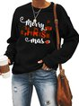 Casual Long Sleeve Christmas Color-Block Top