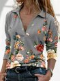 Gray Floral Casual Long Sleeve Top