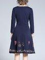 V Neck Formal Solid Midi Dress