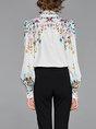 Shirt Collar Printed Long Sleeve Floral Top