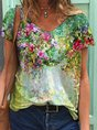 Colorful Flower Painting Short Sleeve T-Shirt