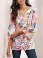 3/4 Sleeve Casual V Neck Top