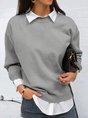 Grey Long Sleeve Casual Top