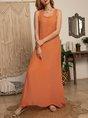Solid Basic Linen/Cotton A-Line Sleeveless Maxi Dress