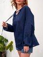 Royal Blue Casual Shift Cotton Shirts & Tops
