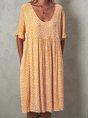 Women Floral Printed Short Sleeve Vintage Dress