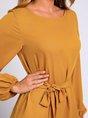 Lace-up Long Balloon Sleeve Mini Dress