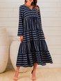 Blue Casual A-Line Long Sleeve Dress