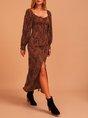 Brown Long Sleeve Animal Slit Maxi Dress