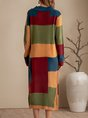 Yellow Shift Solid Pockets Color-Block Sweater Dress