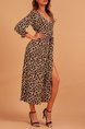 V Neck Sexy Slit Brown Maxi Dresses