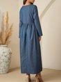 Blue V Neck Long Sleeve Polka Dots Maxi Dress