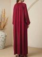 Deep Red Casual Shift Plain Maxi Dress