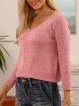 Purple Sweet Knitted V Neck Sweater