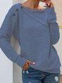 Gray Solid Shawl Collar Casual Shirts Top