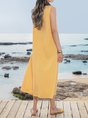 Summer Maxi Pockets Plus Size Solid Sleeveless Crew Neck Dress