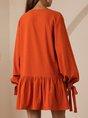 V Neck Orange Shift Daily Mini Dress