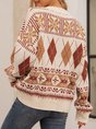 Coffee Cotton-Blend Paneled Long Sleeve Sweater