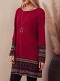Burgundy Crew Neck Paneled Casual Tribal Mini Dress